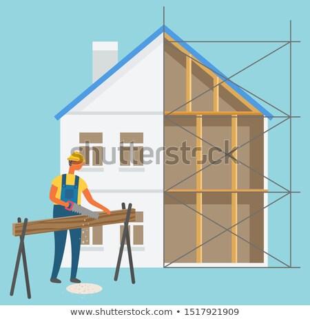 Construire construction homme vecteur bûcheron Photo stock © robuart
