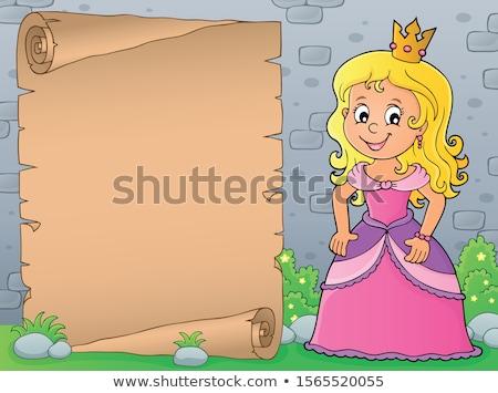 Hercegnő téma pergamen papír lány boldog Stock fotó © clairev