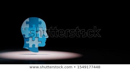 Puzzle pezzo nero giallo copia spazio illustrazione 3d Foto d'archivio © make