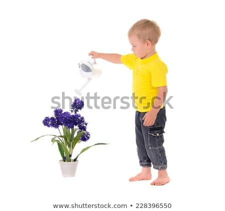 Chłopca żółty shirt konewka ilustracja szczęśliwy Zdjęcia stock © bluering