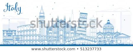 Skicc Olaszország sziluett kék üzleti út turizmus Stock fotó © ShustrikS