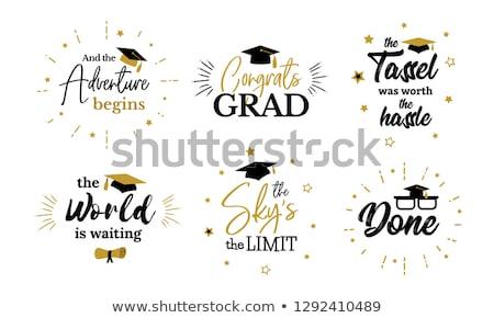 Klasse gefeliciteerd afgestudeerde typografie mooie mooie Stockfoto © Zsuskaa