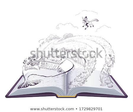 Little humpbacked horse Russian fairy tale. Open book illustration Stock photo © orensila