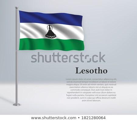 Lesotho flag, vector illustration on a white background Stock photo © butenkow