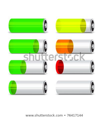 Low level bright glossy battery icon with charging symbol Stock photo © evgeny89