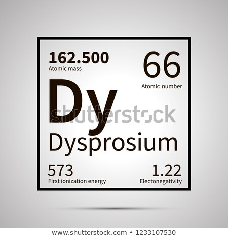 Dysprosium chemical element with first ionization energy, atomic mass and electronegativity values , Stock photo © evgeny89
