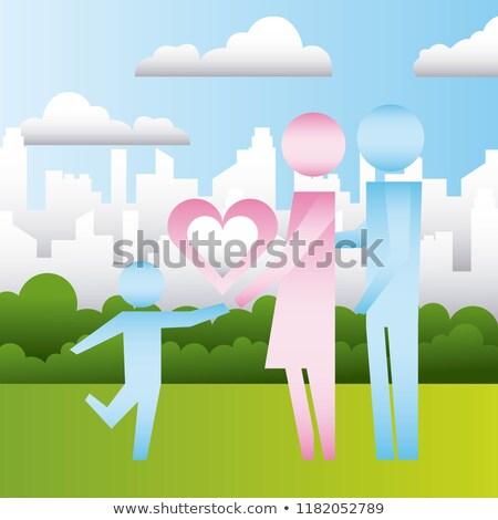 parents and son heart in the city family protection Stock photo © yupiramos