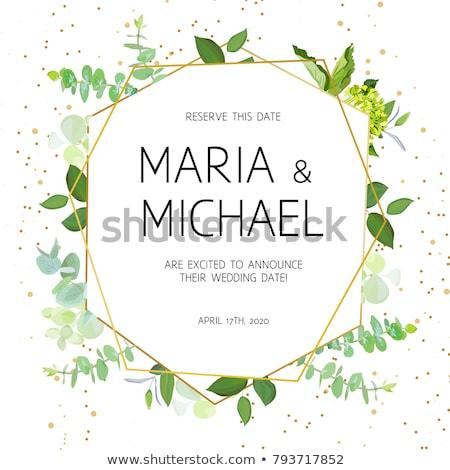 Doğa stil düğün davetiyesi şablon dizayn yaprakları Stok fotoğraf © SArts