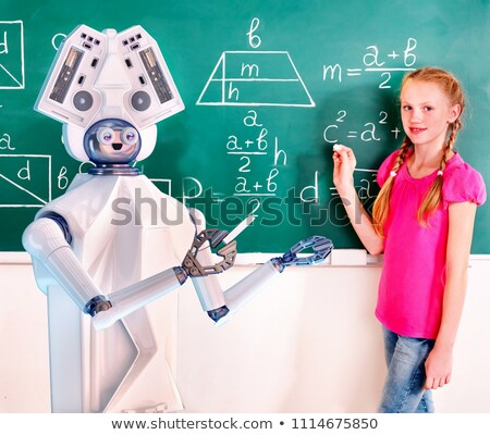 Humanoid Robot Chalk Board Writing Teacher Stock photo © limbi007