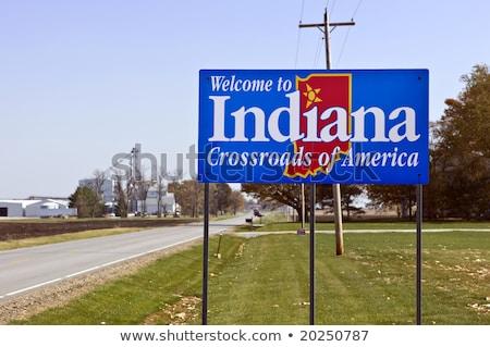 Indiana znak autostrady zielone USA Chmura ulicy Zdjęcia stock © kbuntu