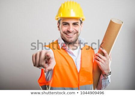 genç · işçi · işaret · kamera · portre - stok fotoğraf © rosspetukhov