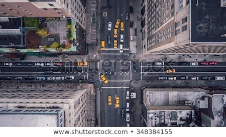 New York taxi illusztráció felhőkarcolók szobor hörcsög Stock fotó © dayzeren