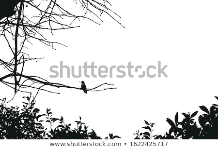 Tree silhouette blue and white landscape. EPS 8 Stock photo © beholdereye