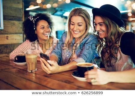 Mulher jovem café jovem senhora pensando feliz Foto stock © lorenzodelacosta