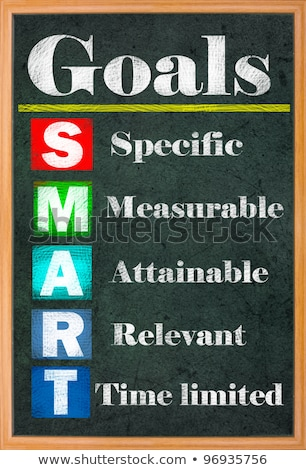 smart goal setting colorful letters on grungy blackboard stock photo © ansonstock