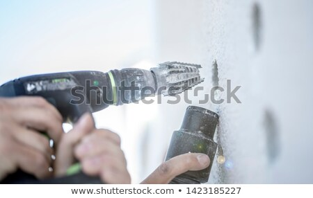 Gyakornok férfi fal munka otthon festmény Stock fotó © photography33