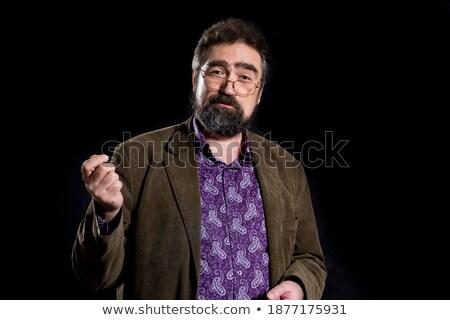 Zakenman jeans trainers hand uitvoerende zwarte Stockfoto © photography33