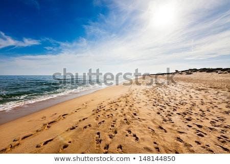Plage de sable empreintes ciel bleu nuages plage soleil Photo stock © vlaru