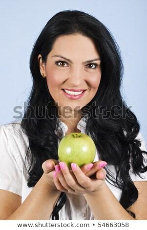 красное · яблоко · рук · изолированный · белый · продовольствие · яблоко - Сток-фото © get4net