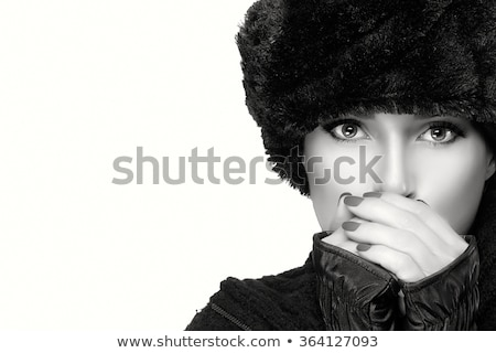 beautiful woman in white fur hat Stock photo © Pilgrimego