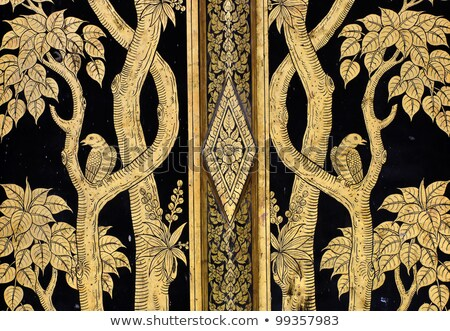 flower pattern in traditional thai style art on wall of the temp stock photo © pinkblue