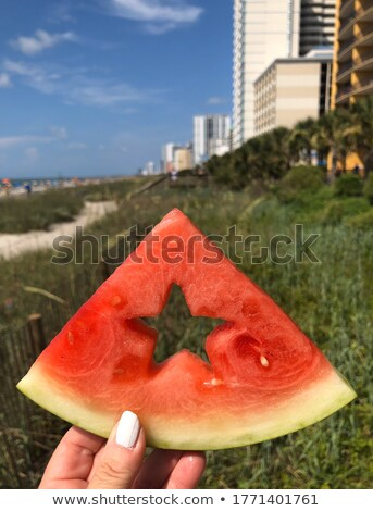 Woman with slice of star-shaped fruit Stock photo © photography33