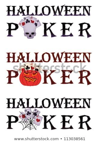 Halloween pôquer bandeira teia de aranha moda teia Foto stock © carodi