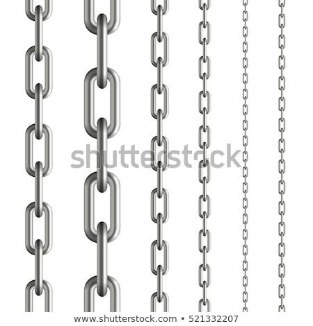Stock fotó: Fém · lánc · fehér · 3d · illusztráció · keret · ipar