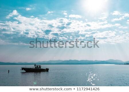 Nuvens lago EUA azul branco horizonte Foto stock © emattil