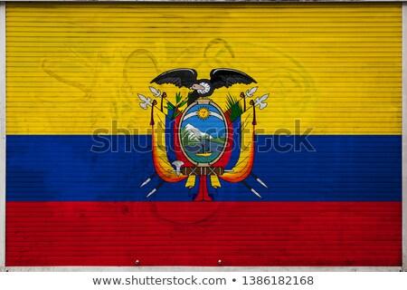 フラグ エクアドル レンガの壁 描いた グランジ テクスチャ ストックフォト © creisinger
