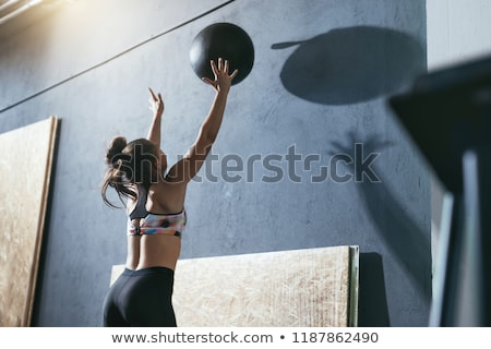 fiatal · nő · labda · tornaterem · nő · sport · fitnessz - stock fotó © phbcz