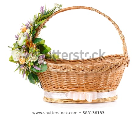 Pink woven basket for gifts on white Stock photo © Arsgera