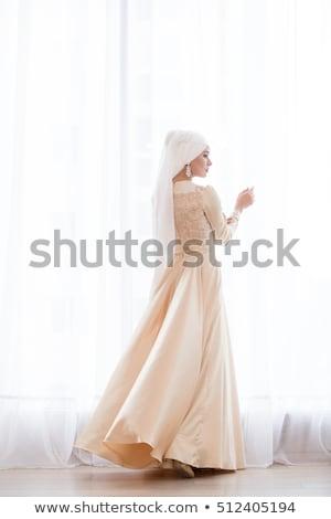 sexual · belo · noiva · branco · vestido · de · noiva · janela - foto stock © ssuaphoto