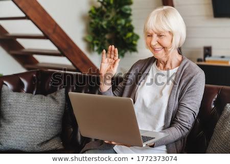 aposentados · senior · mulher · sessão · casa · usando · laptop - foto stock © photography33