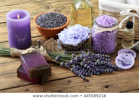 Candle with lavender flowers. Aromatherapy concept  Stock photo © wjarek