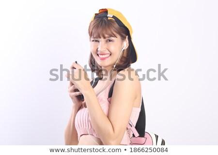 retrato · bela · mulher · olhando · câmera · sorridente · iso - foto stock © dacasdo