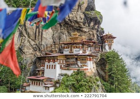 Klooster Bhutan tijgers nest hout berg Stockfoto © TanArt