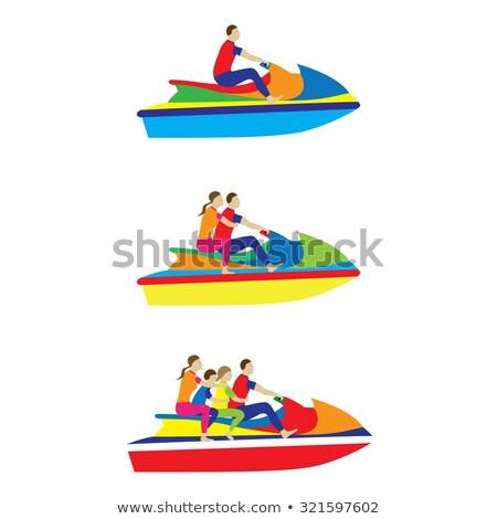 hombre · jet · ski · mar · sonriendo · vacaciones · color - foto stock © donland