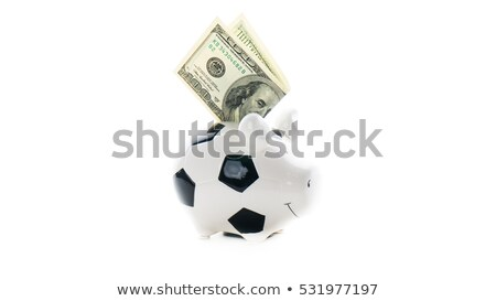 Money background from hundred bucks banknotes with Piggy Bank Stock photo © tolokonov