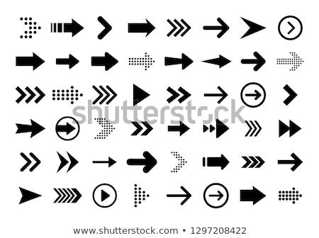 Stock fotó: Vektor · szett · nyíl · gomb · illusztráció · ikon
