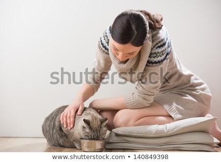 Stock fotó: Gyönyörű · fiatal · nő · etetés · macska · otthon · nő