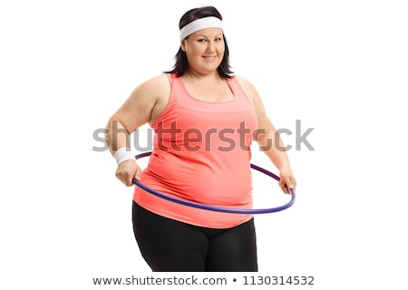 ストックフォト: 太り過ぎ · 女性 · 行使 · 孤立した · 白 · 女性