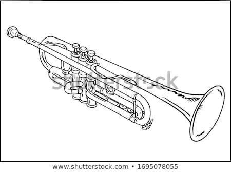 Vintage laiton trompette blanc noir image Photo stock © rhamm
