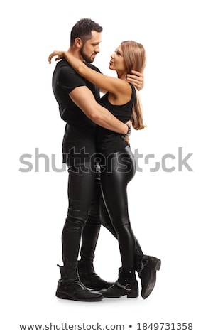 couple standing embraced and looking at each other stock photo © feedough