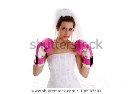 Woman in dress and boxing glove on white background, Stock photo © pxhidalgo