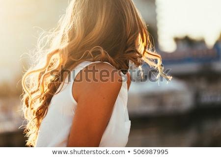 güzel · kız · saç · karanlık · kadın · moda · portre - stok fotoğraf © evgenyatamanenko