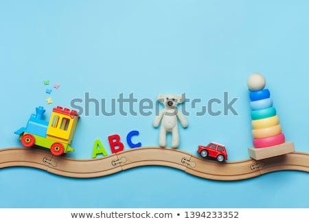 Fa játék vonatok vasút kettő izolált fehér Stock fotó © gewoldi