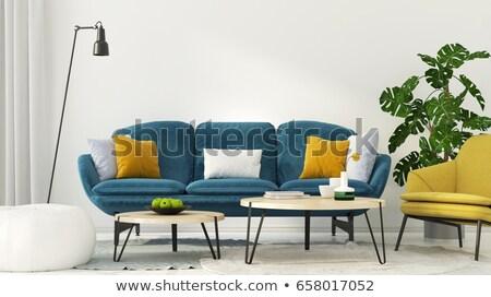 metal · divano · giallo · cuscino · fiore · spazio - foto d'archivio © 3523studio