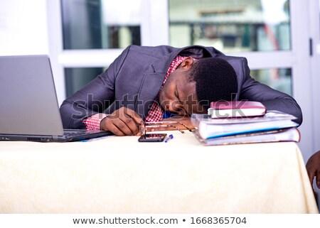 esgotado · empresário · adormecido · secretária · escritório · homem - foto stock © pressmaster