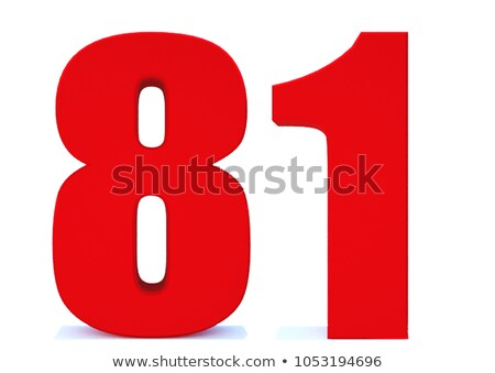 Red number 81 with reflection on a white background Stock photo © Zerbor